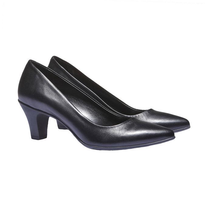Leather Pumps flexible, black , 624-6221 - 26