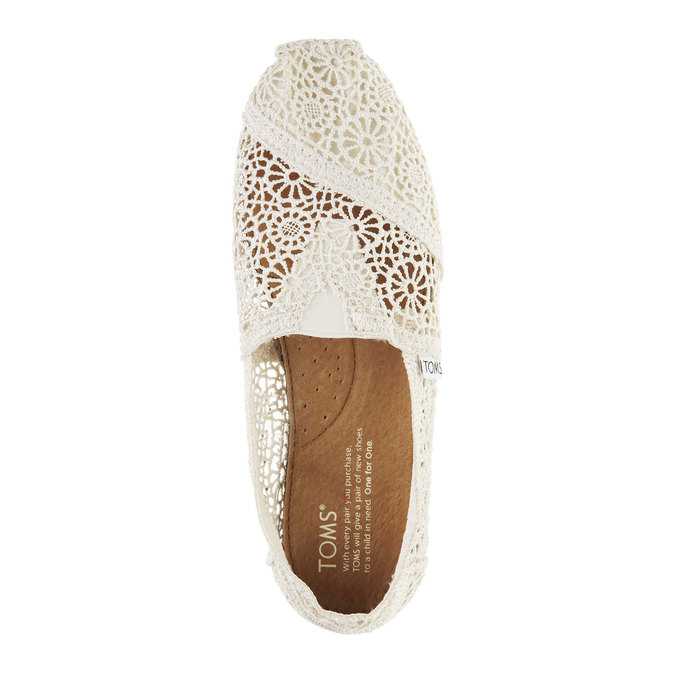 Lace slip-ons toms, beige , 519-1100 - 19