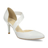 Pointed white pumps with an instep strap, white , 724-1904 - 13