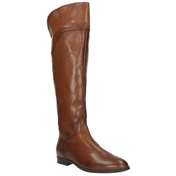 Brown leather knee-high boots bata, brown , 594-4605 - 13