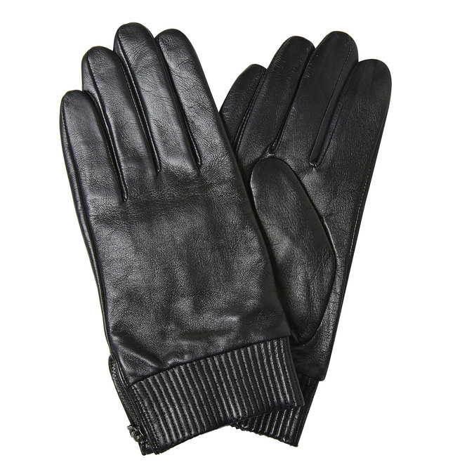 Men's leather gloves bata, black , 904-6128 - 13