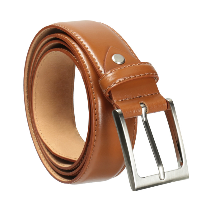 Men's brown leather belt bata, brown , 954-3153 - 13