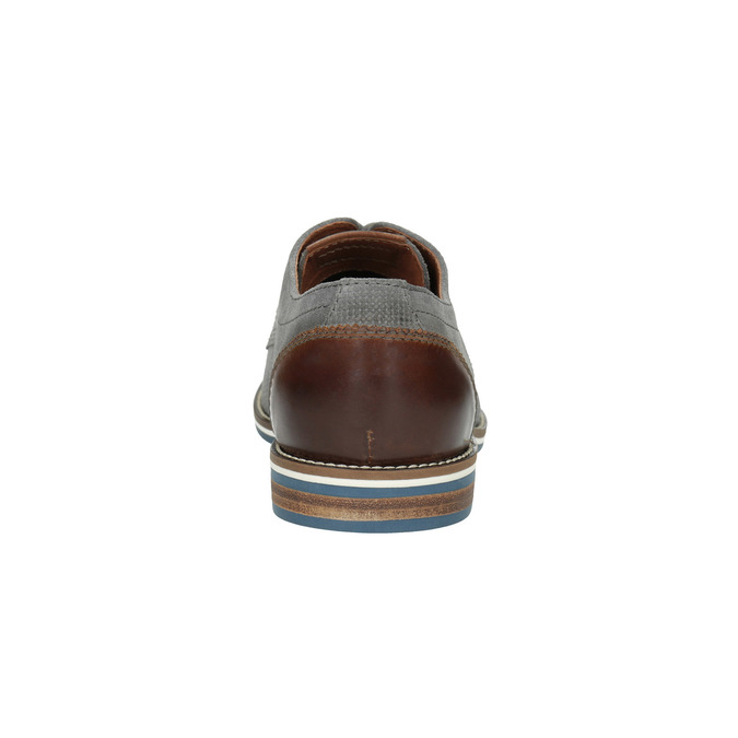 Casual grey leather shoes bata, gray , 823-2600 - 17