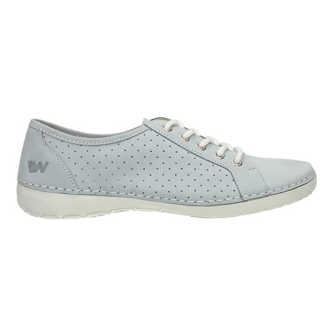 Leather low shoes with perforations weinbrenner, blue , 546-9602 - 15