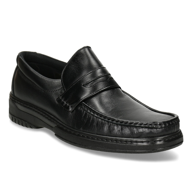 Men's leather moccasins with stitching pinosos, black , 814-6624 - 13