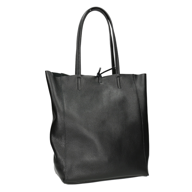 Leather handbag v Shopper style, black , 964-6122 - 13
