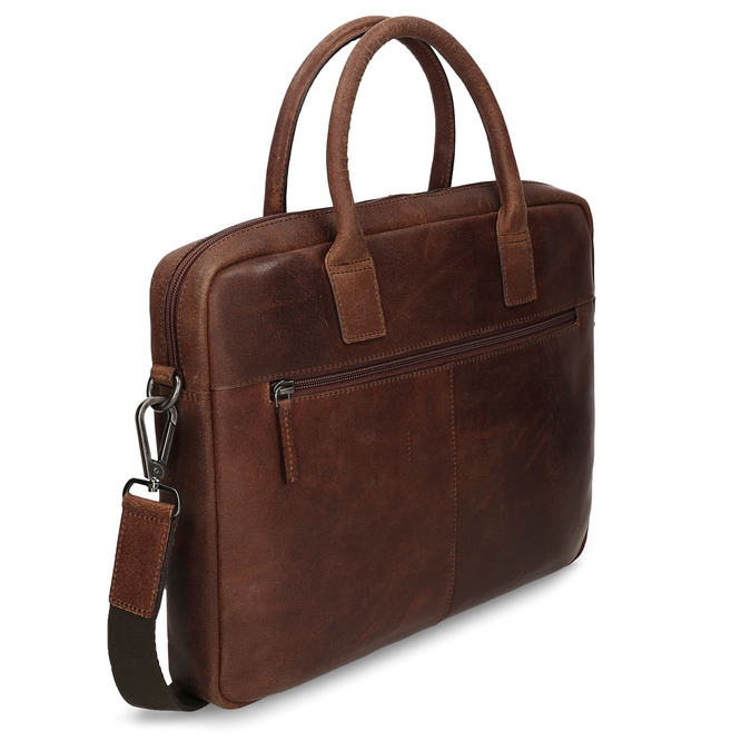 Men's leather bag with stitching, brown , 964-4139 - 13