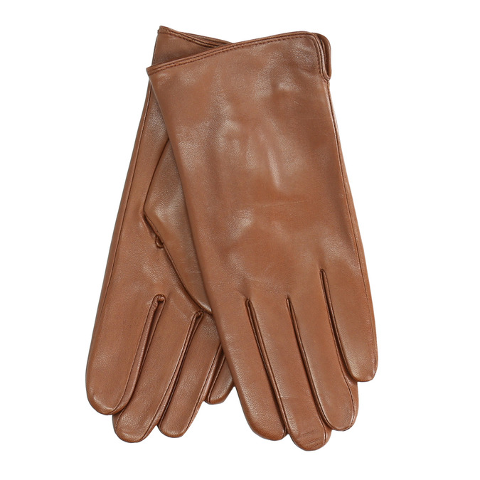 Brown leather gloves, brown , 904-3129 - 13