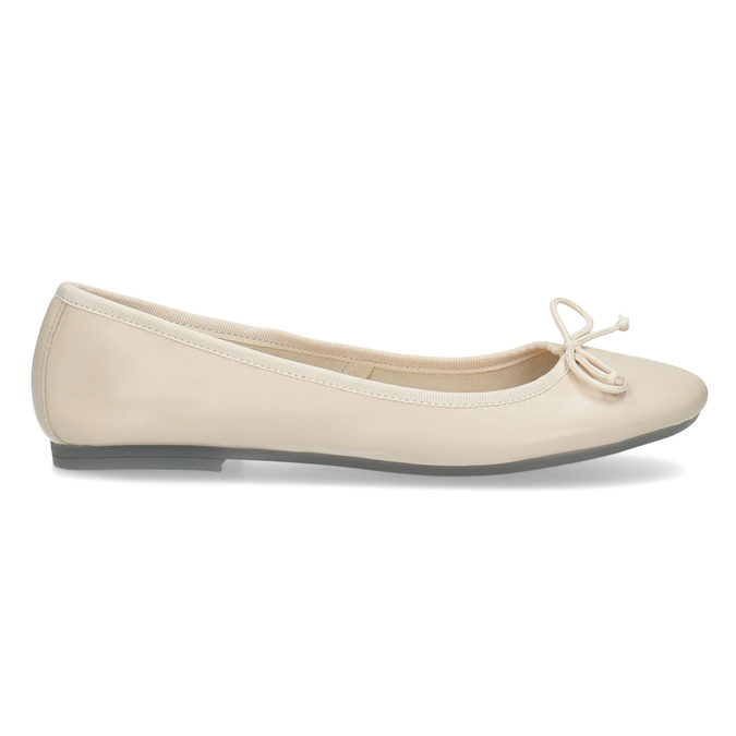 Leather ballerina shoes bata, beige , 524-8144 - 19