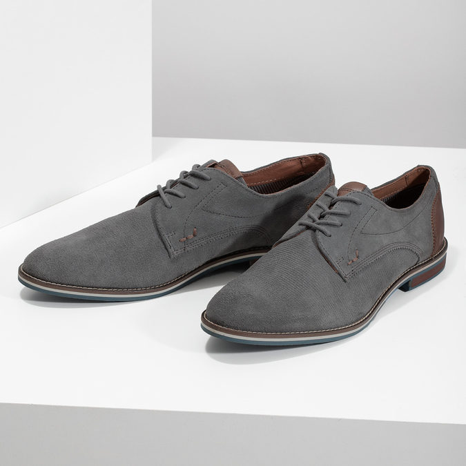Casual grey leather shoes bata, gray , 823-2600 - 16