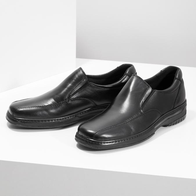Men's leather moccasins, black , 814-6622 - 16