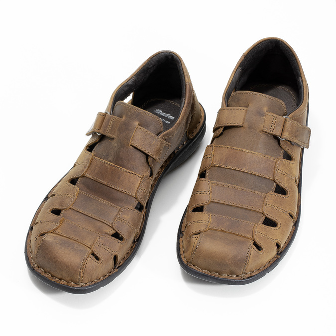 Men's brown leather sandals bata, brown , 864-4600 - 16