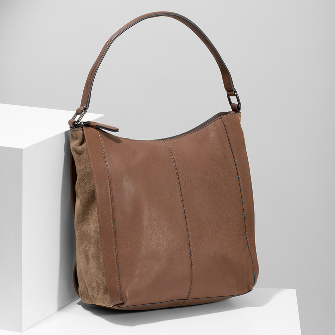 Brown leather handbag bata, brown , 964-3254 - 17